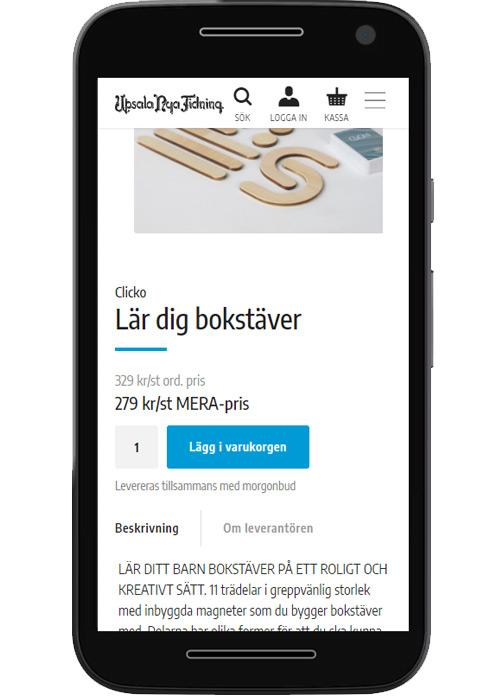 Stående telefon visar produkter från en eshop